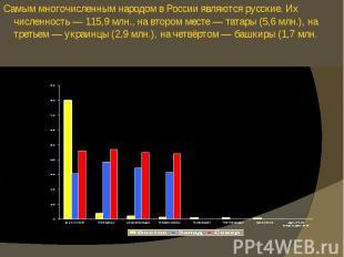 Самым многочисленным народом в России являются русские. Их численность — 115,9 м