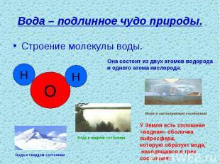 Вода – подлинное чудо природы. Строение молекулы воды.