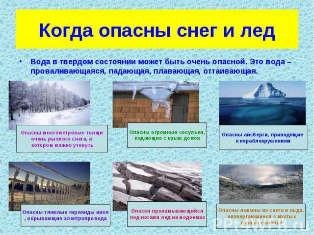 Когда опасны снег и лед Вода в твердом состоянии может быть очень опасной. Это вода – проваливающаяся, падающая, плавающая, оттаивающая.