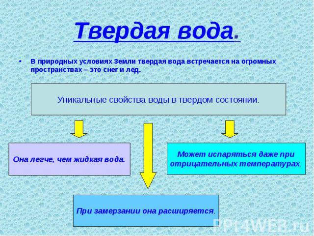 Твердая вода. В природных условиях Земли твердая вода встречается на огромных пространствах – это снег и лед.