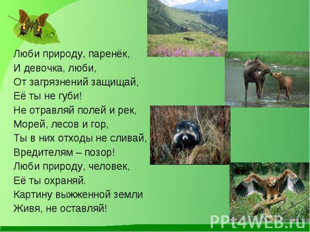 Люби природу, паренёк, Люби природу, паренёк, И девочка, люби, От загрязнений защищай, Её ты не губи! Не отравляй полей и рек, Морей, лесов и гор, Ты в них отходы не сливай, Вредителям – позор! Люби природу, человек, Её ты охраняй. Картину выжженной…