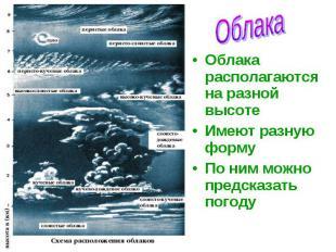 Облака располагаются на разной высоте Облака располагаются на разной высоте Имею