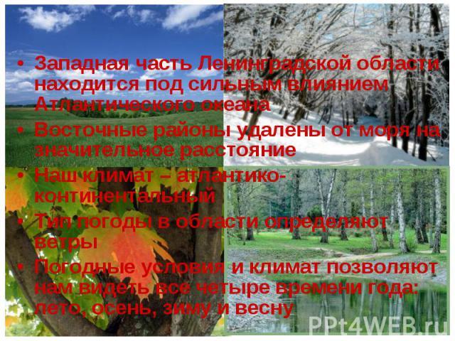 Западная часть Ленинградской области находится под сильным влиянием Атлантического океана Западная часть Ленинградской области находится под сильным влиянием Атлантического океана Восточные районы удалены от моря на значительное расстояние Наш клима…