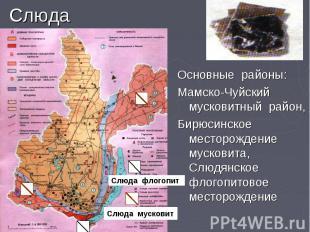 Слюда Основные районы: Мамско-Чуйский мусковитный район, Бирюсинское месторожден