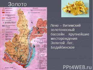 Золото Лено – Витимский золотоносный бассейн . Крупнейшие месторождения Золотой