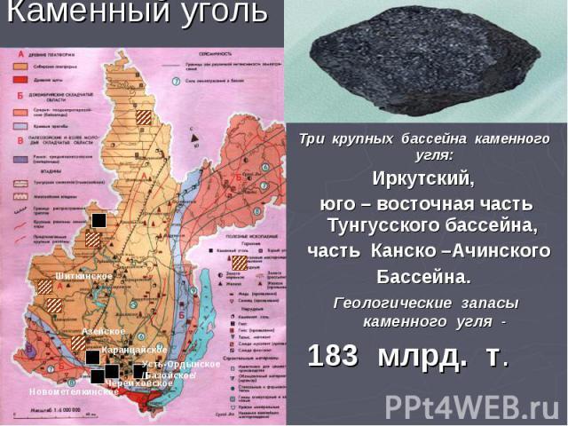Каменный уголь Три крупных бассейна каменного угля: Иркутский, юго – восточная часть Тунгусского бассейна, часть Канско –Ачинского Бассейна. Геологические запасы каменного угля - 183 млрд. т.