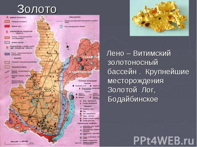 Золото Лено – Витимский золотоносный бассейн . Крупнейшие месторождения Золотой Лог, Бодайбинское