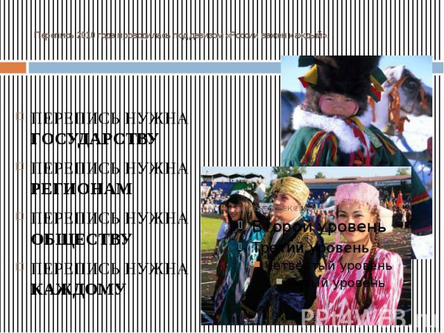 Перепись 2010 года проводилась под девизом «России важен каждый». ПЕРЕПИСЬ НУЖНА ГОСУДАРСТВУ ПЕРЕПИСЬ НУЖНА РЕГИОНАМ ПЕРЕПИСЬ НУЖНА ОБЩЕСТВУ ПЕРЕПИСЬ НУЖНА КАЖДОМУ