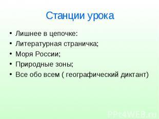 Станции урока Лишнее в цепочке: Литературная страничка; Моря России; Природные з