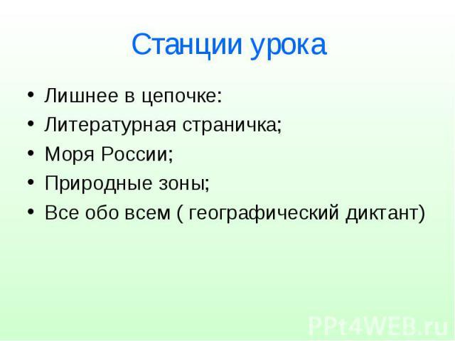 Станции урока Лишнее в цепочке: Литературная страничка; Моря России; Природные зоны; Все обо всем ( географический диктант)