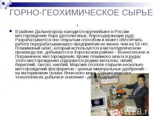 ГОРНО-ГЕОХИМИЧЕСКОЕ СЫРЬЕ. В районе Дальнегорска находится крупнейшее в России м