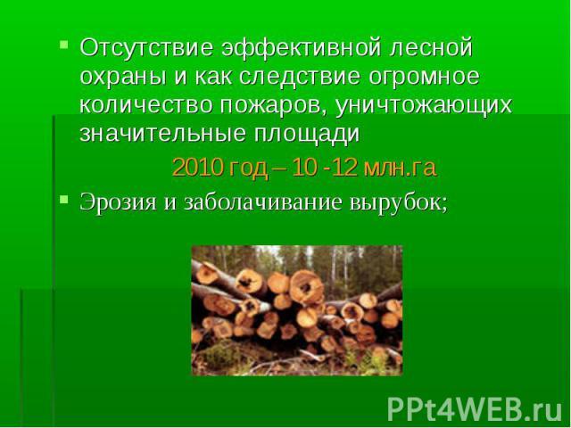 Отсутствие эффективной лесной охраны и как следствие огромное количество пожаров, уничтожающих значительные площади Отсутствие эффективной лесной охраны и как следствие огромное количество пожаров, уничтожающих значительные площади 2010 год – 10 -12…