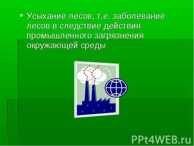 Усыхание лесов, т.е. заболевание лесов в следствие действия промышленного загрязнения окружающей среды Усыхание лесов, т.е. заболевание лесов в следствие действия промышленного загрязнения окружающей среды
