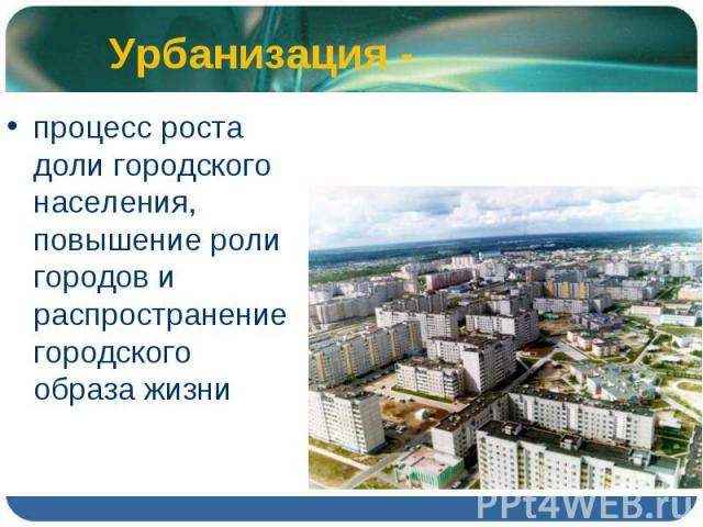 процесс роста доли городского населения, повышение роли городов и распространение городского образа жизни процесс роста доли городского населения, повышение роли городов и распространение городского образа жизни
