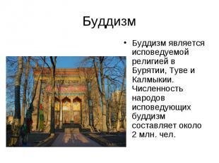 Буддизм является исповедуемой религией в Бурятии, Туве и Калмыкии. Численность н