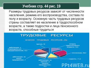 Размеры трудовых ресурсов зависят от численности населения, режима его воспроизв
