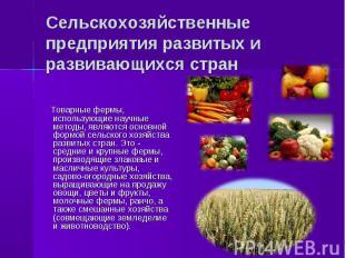 Товарные фермы, использующие научные методы, являются основной формой сельского