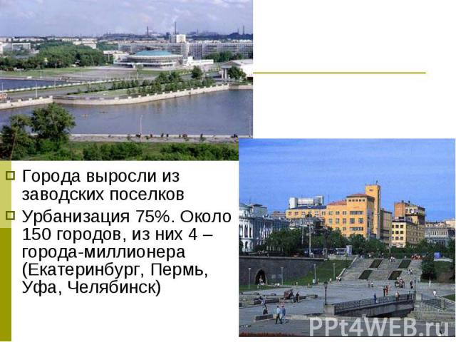 Города выросли из заводских поселков Города выросли из заводских поселков Урбанизация 75%. Около 150 городов, из них 4 – города-миллионера (Екатеринбург, Пермь, Уфа, Челябинск)