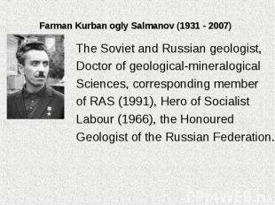 The Soviet and Russian geologist, The Soviet and Russian geologist, Doctor of ge