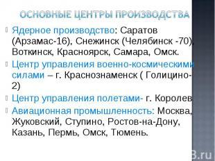 Ядерное производство: Саратов (Арзамас-16), Снежинск (Челябинск -70), Воткинск,