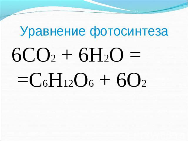 6CO2 + 6H2O = =C6H12O6 + 6O2 6CO2 + 6H2O = =C6H12O6 + 6O2