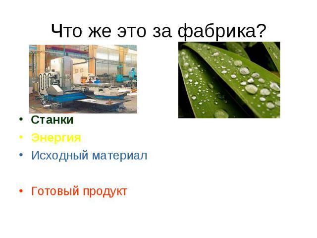 Что же это за фабрика? Станки Энергия Исходный материал Готовый продукт