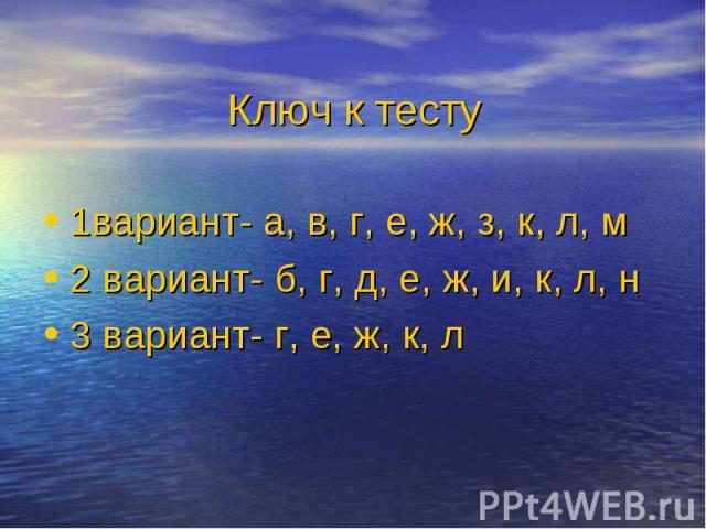 1вариант- а, в, г, е, ж, з, к, л, м 1вариант- а, в, г, е, ж, з, к, л, м 2 вариант- б, г, д, е, ж, и, к, л, н 3 вариант- г, е, ж, к, л