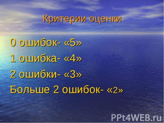 0 ошибок- «5» 0 ошибок- «5» 1 ошибка- «4» 2 ошибки- «3» Больше 2 ошибок- «2»