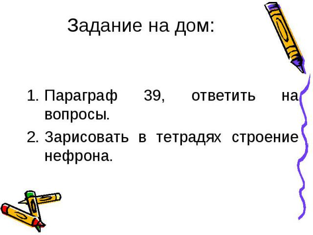 Параграф 39, ответить на вопросы. Зарисовать в тетрадях строение нефрона.