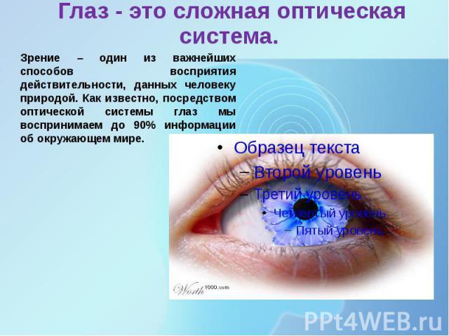 Глаз - это сложная оптическая система.