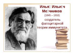 Илья Ильи ч Ме чников (1845 – 1916) создатель фагоцитарной теории иммуните