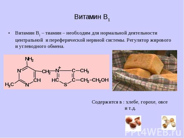 Витамин B1 Витамин B1 – тиамин – необходим для нормальной деятельности центральной и переферической нервной системы. Регулятор жирового и углеводного обмена.