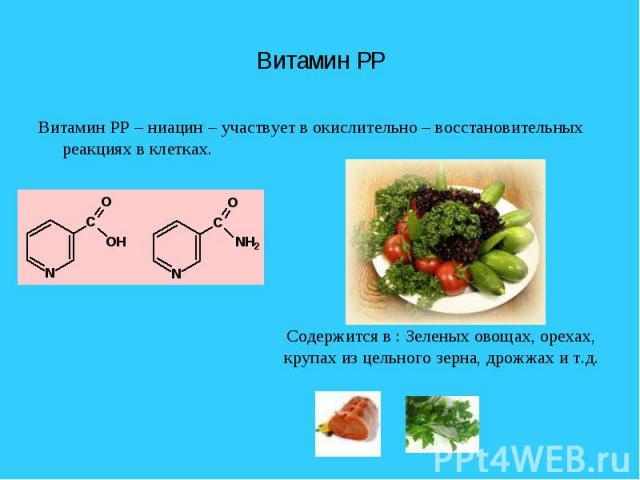 Витамин PP Витамин PP – ниацин – участвует в окислительно – восстановительных реакциях в клетках.