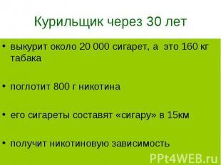 выкурит около 20 000 сигарет, а это 160 кг табака выкурит около 20 000 сигарет,