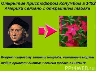 Открытие Христофором Колумбом в 1492 г. Америки связано с открытием табака Откры