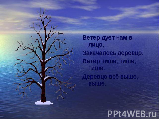 Ветер дует нам в лицо, Ветер дует нам в лицо, Закачалось деревцо. Ветер тише, тише, тише. Деревцо всё выше, выше.