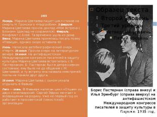 1935 1935 Январь. Марина Цветаева пишет цикл стихов на смерть Н. Гронского «Надг