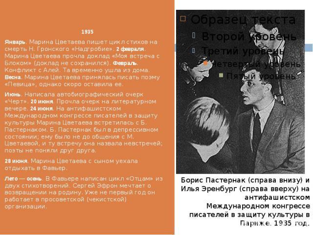 1935 1935 Январь. Марина Цветаева пишет цикл стихов на смерть Н. Гронского «Надгробие».2 февраля. Марина Цветаева прочла доклад «Моя встреча с Блоком» (доклад не сохранился).Февраль. Конфликт с Алей. Та временно ушла из дома. Весна. Мари…