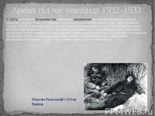 Арешт під час геноциду 1932–1933 У 1933 р.популярний письменник був превен
