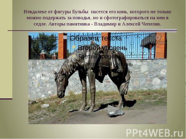 Невдалеке от фигуры Бульбы пасется его конь, которого не только можно подержать за поводья, но и сфотографироваться на нем в седле. Авторы памятника - Владимир и Алексей Чепелик.