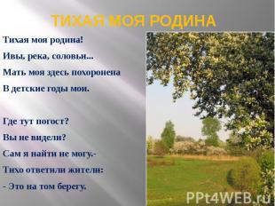ТИХАЯ МОЯ РОДИНА Тихая моя родина! Ивы, река, соловьи... Мать моя здесь похороне