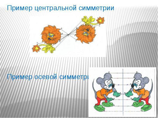 Пример центральной симметрии Пример центральной симметрии Пример осевой симметрии