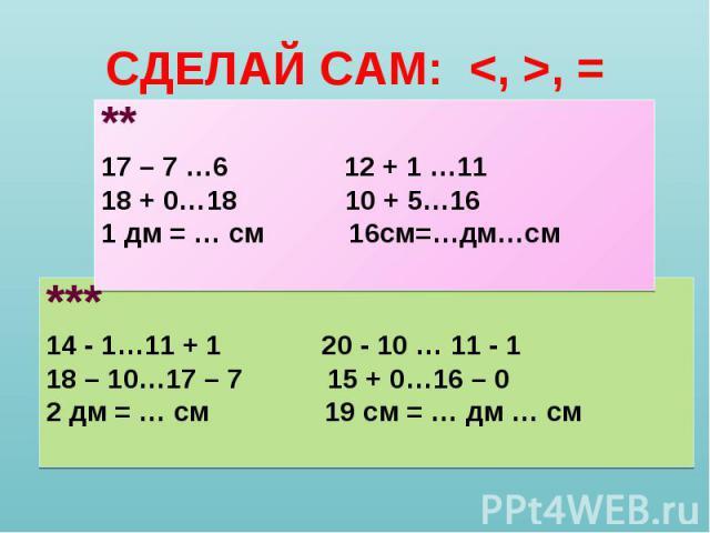 *** *** 14 - 1…11 + 1 20 - 10 … 11 - 1 18 – 10…17 – 7 15 + 0…16 – 0 2 дм = … см 19 см = … дм … см