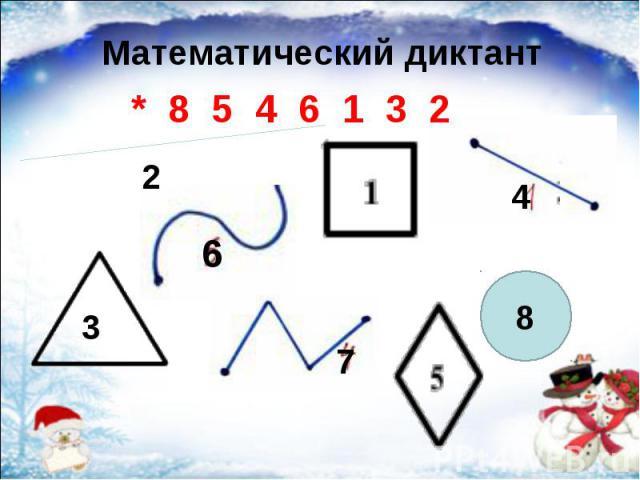 Математический диктант Математический диктант