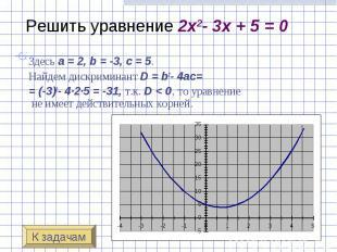 Решить уравнение 2x2- 3x + 5 = 0 Здесь a=2, b=-3, c&nbsp
