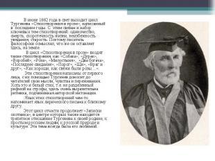 В июне 1882 года в свет выходит цикл Тургенева«Стихотворения в прозе», нап