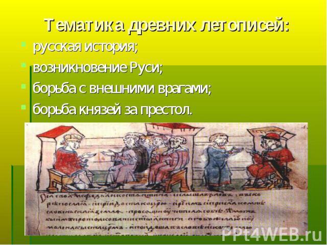 русская история; русская история; возникновение Руси; борьба с внешними врагами; борьба князей за престол.