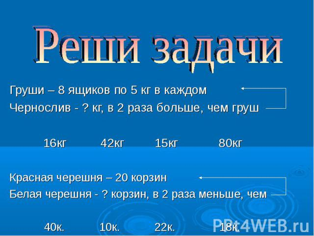 Груши – 8 ящиков по 5 кг в каждом Груши – 8 ящиков по 5 кг в каждом Чернослив - ? кг, в 2 раза больше, чем груш 16кг 42кг 15кг 80кг Красная черешня – 20 корзин Белая черешня - ? корзин, в 2 раза меньше, чем 40к. 10к. 22к. 18к.