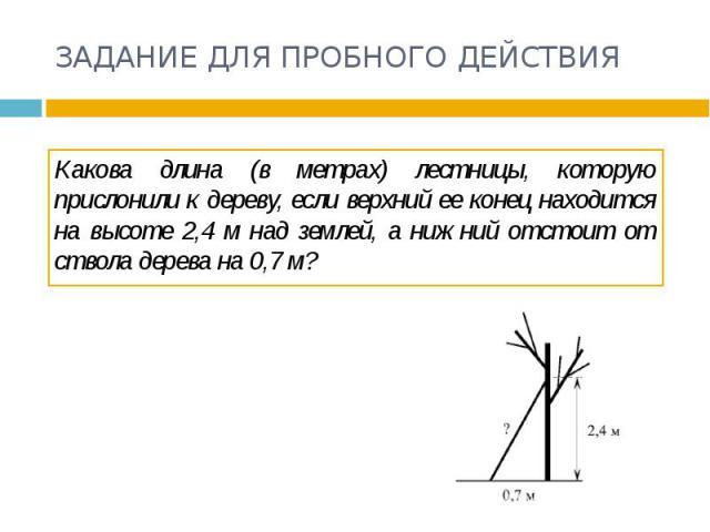 ЗАДАНИЕ ДЛЯ ПРОБНОГО ДЕЙСТВИЯ Какова длина (в метрах) лестницы, которую прислонили к дереву, если верхний ее конец находится на высоте 2,4 м над землей, а нижний отстоит от ствола дерева на 0,7 м?