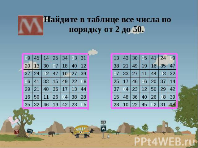 Найдите в таблице все числа по порядку от 2 до 50. Найдите в таблице все числа по порядку от 2 до 50.